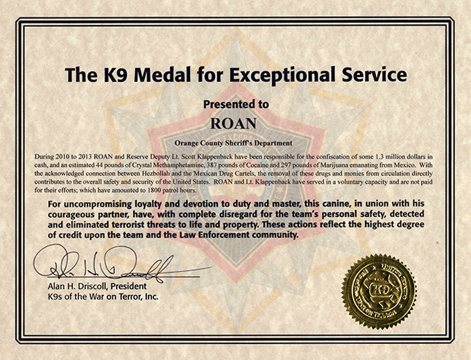 Award Certificate k9 Medal for Exceptional Service